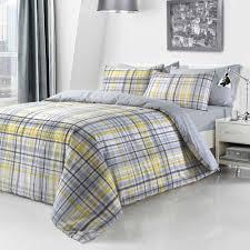 yellow check tartan duvet set quilt cover pillowcase reversible bedding king size 261818 p5609 15353 image jpg
