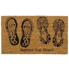 Decorating coir door mats pics : Rubber-Cal 'Remove Your Shoes' Coir Outdoor Door Mat - Free ...