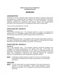 stylish secretary job description resume resume format web