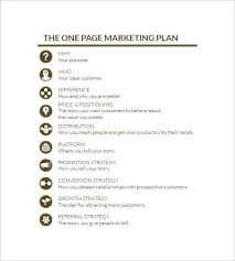 One Page Marketing Plan Marketing Plan Outline Marketing