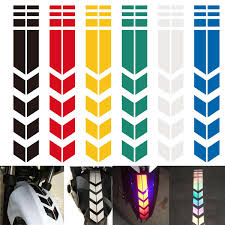 Design Reflective Stickers Motorcycle Reflective Stickers Wheel Fender Waterproof Safety Warning Arrow Tape Car Decals Decoration Accessories