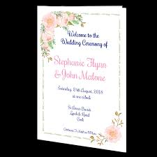 Wedding Ceremony Brochure Delicate Rose Ceremony Booklet 20 Page Wedding Cards Direct