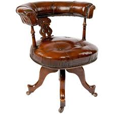 victorian office chair. Victorian Leather Upholstered Desk Chair For Sale Office H
