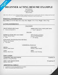 Sample Acting Resume Simple Free Beginner Acting Resume Sample Resumecompanion Acting