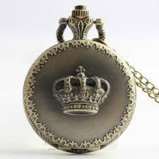 reebonz vintage crown quartz pocket watch necklace pendant copper color
