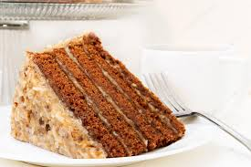 slice of german chocolate cake. Beautiful Cake Slice Of German Chocolate Cake Closeup U2014 Stock Photo And Of