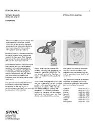 Stihl 09 010 011 Workshop Manual Manualzz Com