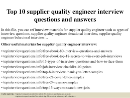 top 10 supplier quality engineer interview questions and answers in this  file - Developmental Engineer Resume