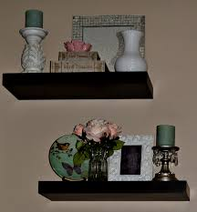 Small Decorative Plates Living Room Black Stained Wooden Floating Shelves Decorative
