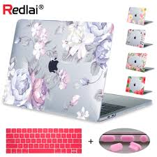 floral printing hard laptop case for macbook pro retina 1315 air 12 13 11 new 15 a1708 a1989 touch bar crystal cover