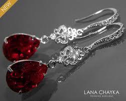 red crystal earrings dark red chandelier earrings swarovski siam teardrop rhinestone silver earrings bridal bridesmaids red wedding jewelry