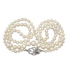 single strand pearl necklace with diamond 9k white gold clasp antique for