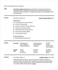 Administrative Professional Certificate 10 Entry Level Administrative Assistant Resume Templates