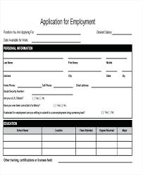 Free Sample Job Application Forms Blank Employment Application Form Free Sample Download Standard