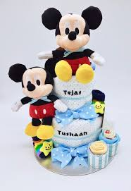 2 Tier Small Diaper Cake Twins