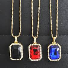 whole crystal onyx pendant necklace set square red black blue green white stone pendant 30inch box chain mens jewelry charm bracelets necklaces from