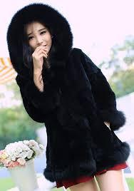 black patchwork irregular hooded 3 4 sleeve fashion fur coat