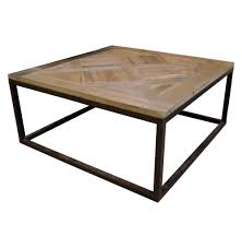 gramercy modern rustic reclaimed parquet wood iron coffee table kathy kuo home