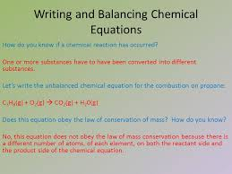 2 writing and balancing chemical equations