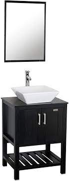 Amazon Com Eclife 24 Inch Modern Bathroom Vanity Units Cabinet And Sink Stand Pedestal With White Square Ceramic Vessel Sink With Chrome Bathroom Solid Brass Faucet And Pop Up Drain Combo A07b06 Kitchen