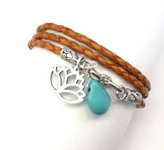 custom made orange braided leather wrap bracelet with lotus flower charm and turquoise
