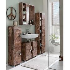30x168x23 Badezimmer Hochschrank 3 Türig Mit Design Holz Dekor Eiche