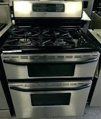 Stainless Steel Double Oven Gas Range 4 Burner