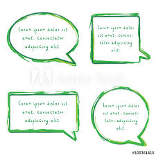 Green Text Bubble Speech Bubble Set With Chalk Pencil Design In Green Color