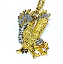 american eagle pendant necklace gold tone with silver accents diamond cut style claws out landing