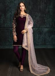 Pink Velvet Suit Design Deep Plum And Light Pink Velvet Churidar Suit Fashion In