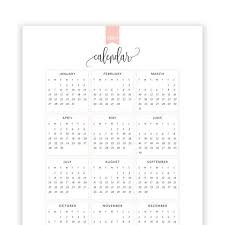At A Glance Yearly Calendars 2019 Year At A Glance Calendar Year Printable Planner