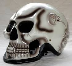 fullface skull skeleton death ghost rider white motorcycle 3d