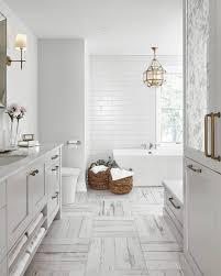 Farmhouse Bathroom via Home Bunch: The crosshatch floor tiles ...