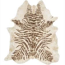 metallic gold beige and brown zebra cowhide rug