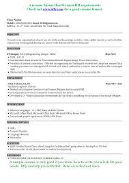 Resume Format For Engineering Fresher Resume Template Resume Sample