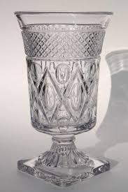 imperial cape cod pattern flower vase crystal clear vintage glass footed urn shape vase