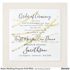 Name Wedding Program Gold White Funny Quotes Napkin Zazzle