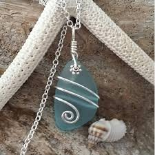 handmade in hawaii wire wrapped turquoise bay blue sea gl necklace sterling silver chain hawaiian jewelry