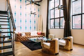industrial living room furniture. High Ceilings Living Room Industrial With Tie Dye Walls Wallpaper Accent Wall Furniture