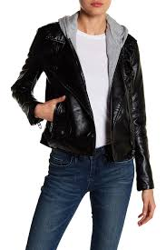 image of blanknyc denim faux leather removable hood jacket