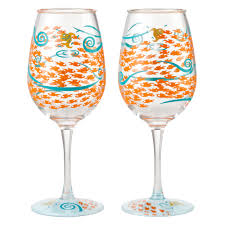 Set of 2 Fish Out Of Water Acrylic Wine Glasses by Lolita (6002193)