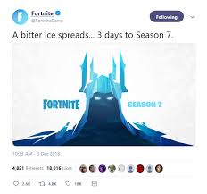 Signs point to fortnite season 7 having a heavy alien theme, as epic games seem to be teasing appearances from rick and morty and superman. Fortnite Season 7 S First Tease Warns That A Bitter Ice Spreads