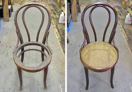 replacing the cane seat bentwood chair before and after restoration
