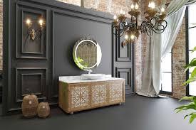 Casa Padrino Luxus Badezimmer Set Naturfarben Weiß 1 Waschtisch