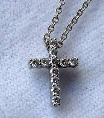 estate hearts on fire 18k wg whimsical diamond cross pendant 16 necklace to expand