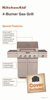 kitchenaid 4 burner propane gas grill with side burner