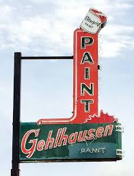 the vintage neon sign for gehlhausen paint at 520 n main st in evansville