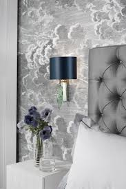 Cole & Son Fornasetti Nuvolette wallpaper, Larch Chrome Wall Light  Beautifully formed glass leaf in