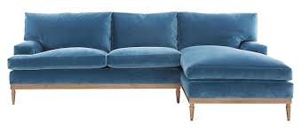 one kings lane sutton right facing sectional harbor blue velvet best upholstery fabrics