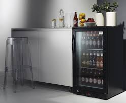 bar display with white painted walls white marble floor stylish bar stool and black glass door